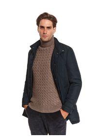 TOP SECRET - Pikowany płaszcz z tkaniny hydrofobowej. Kolor: niebieski. Materiał: tkanina