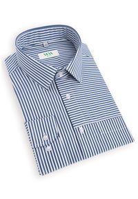 Niebieska koszula casual VEVA z długim rękawem, długa