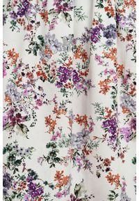 Marie Zélie - Sukienka Melania Belleza kremowa. Kolor: kremowy. Materiał: bawełna, wiskoza, tkanina, materiał. Długość rękawa: krótki rękaw