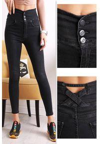 Czarne jeansy IVET klasyczne, w kolorowe wzory, na co dzień