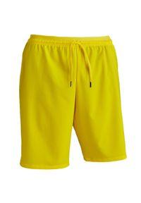 KIPSTA - Spodenki piłkarskie dla dorosłych Kipsta F500. Kolor: żółty. Materiał: poliester, elastan, poliamid, materiał. Sport: piłka nożna