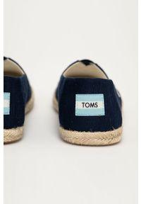 Niebieskie espadryle Toms na niskim obcasie, gładkie, z okrągłym noskiem