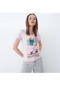 Mohito - Koszulka z nadrukiem - Różowy. Kolor: różowy. Wzór: nadruk