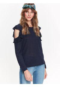 Niebieski sweter TOP SECRET w kolorowe wzory, na co dzień, na jesień, casualowy