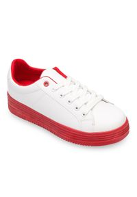 ABLOOM - Buty sportowe damskie Abloom W-68 Biało-Czerwone. Kolor: biały, wielokolorowy, czerwony. Materiał: tkanina, tworzywo sztuczne. Obcas: na obcasie. Wysokość obcasa: niski