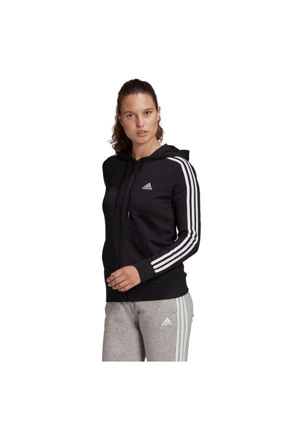 Adidas - Bluza damska adidas Essentials 3-Stripes Hoodie GL0792. Typ kołnierza: kaptur. Materiał: poliester, bawełna, wiskoza, materiał. Sport: fitness