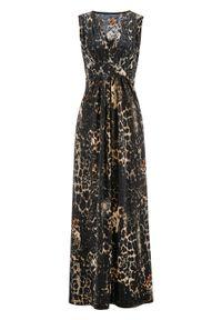 Sukienka shirtowa z nadrukiem bonprix brązowy z nadrukiem. Typ kołnierza: dekolt w serek. Kolor: brązowy. Wzór: nadruk. Styl: elegancki. Długość: maxi