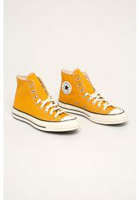 Żółte tenisówki Converse na sznurówki, na obcasie