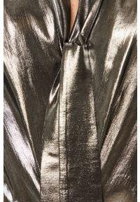 Srebrna bluzka Liu Jo z włoskim kołnierzykiem, z długim rękawem