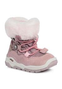 Różowe buty zimowe Primigi z aplikacjami