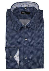 Niebieska elegancka koszula Bello do pracy, długa, z długim rękawem