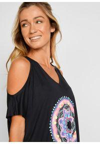 Sukienka plażowa cold-shoulder z przyjaznego dla środowiska materiału bonprix czarny. Okazja: na plażę. Kolor: czarny. Materiał: materiał