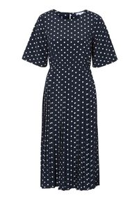 Happy Holly Sukienka w kropki Eloise ciemnoniebieski w kropki female niebieski/ze wzorem 44/46. Kolor: niebieski. Materiał: tkanina, materiał. Długość rękawa: krótki rękaw. Wzór: kropki. Typ sukienki: plisowane. Styl: elegancki