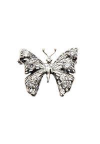 Polcarat Design - Broszka srebrna zdobiona cyrkoniami B 139. Materiał: srebrne. Kolor: srebrny. Wzór: aplikacja. Kamień szlachetny: cyrkonia