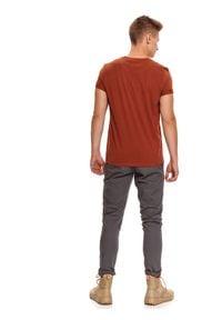 Brązowy t-shirt TOP SECRET krótki, z aplikacjami, z krótkim rękawem