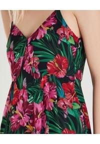 Patrizia Pepe - PATRIZIA PEPE - Maxi sukienka z kwiatowym nadrukiem. Okazja: na imprezę. Typ kołnierza: dekolt w serek. Kolor: zielony. Wzór: nadruk, kwiaty. Styl: wakacyjny. Długość: maxi