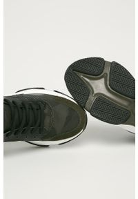 Oliwkowe buty sportowe Steve Madden na sznurówki, z cholewką, z okrągłym noskiem