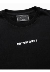 Ombre Clothing - Bluza męska bez kaptura z nadrukiem B1215 - czarna - XXL. Typ kołnierza: bez kaptura. Kolor: czarny. Materiał: bawełna, poliester. Wzór: nadruk #7