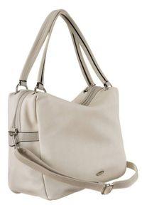 DAVID JONES - Shopper bag beżowy David Jones CM5665 BEIGE. Kolor: beżowy. Materiał: skórzane
