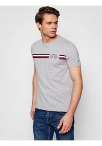 TOMMY HILFIGER - Tommy Hilfiger T-Shirt Crop Split Tee MW0MW16592 Szary Regular Fit. Kolor: szary