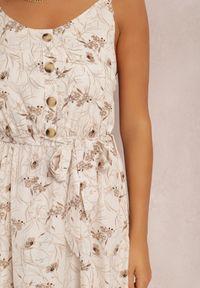 Renee - Kremowa Sukienka Zixasto. Kolor: beżowy. Materiał: materiał. Długość rękawa: na ramiączkach. Wzór: kwiaty. Długość: maxi