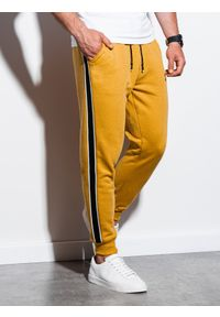 Żółte spodnie Ombre Clothing eleganckie, gładkie