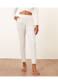 Cael Prążkowane Spodnie Joggery - L - Surowy - Etam. Materiał: prążkowany