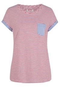Shirt, krótki rękaw bonprix bialy / czerwony W paski. Kolor: biały. Długość rękawa: krótki rękaw. Długość: krótkie. Wzór: paski