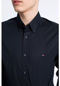 TOMMY HILFIGER - Tommy Hilfiger - Koszula Stretch Poplin. Typ kołnierza: button down. Kolor: czarny. Materiał: tkanina