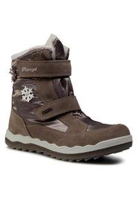 Brązowe buty zimowe Primigi na spacer, z cholewką, z aplikacjami