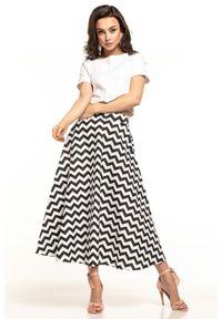 e-margeritka - Spódnica midi rozkloszowana we wzory - 36. Okazja: do pracy. Stan: podwyższony. Materiał: tkanina, bawełna, materiał. Długość: długie. Sezon: lato, wiosna. Styl: elegancki