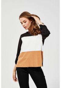 MOODO - Bawełniana bluzka. Materiał: bawełna. Długość rękawa: długi rękaw. Długość: długie. Wzór: paski. Styl: klasyczny