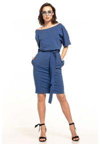 Tessita - Chabrowa Dzianinowa Sukienka z Kimonowym Krótkim Rękawem. Kolor: niebieski. Materiał: dzianina. Długość rękawa: krótki rękaw
