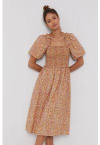 Y.A.S - Sukienka bawełniana. Kolor: brązowy. Materiał: bawełna. Długość rękawa: krótki rękaw. Typ sukienki: rozkloszowane