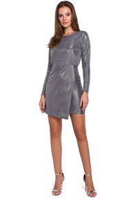 Makover - Olśniewająca połyskująca sukienka mini. Okazja: na randkę, na imprezę. Długość rękawa: długi rękaw. Typ sukienki: dopasowane, asymetryczne. Długość: mini