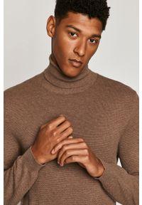 Brązowy sweter medicine z długim rękawem, z golfem
