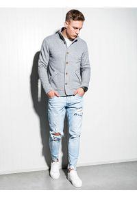 Ombre Clothing - Bluza męska rozpinana bez kaptura CARMELO - szara - L. Typ kołnierza: bez kaptura. Kolor: szary. Materiał: dzianina