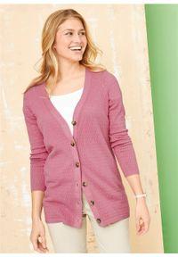 Fioletowy sweter bonprix w ażurowe wzory