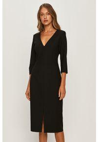 Czarna sukienka Hugo dopasowana, midi