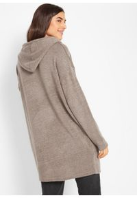 Brązowy sweter bonprix długi, melanż, z kapturem