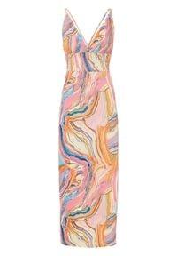 Długa sukienka z nadrukiem bonprix różowo-niebieski wzorzysty. Kolor: różowy. Wzór: nadruk. Długość: maxi