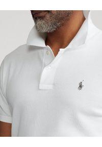 Ralph Lauren - RALPH LAUREN - Biała koszulka polo The Lux Knit Custom Fit. Typ kołnierza: polo. Kolor: biały. Materiał: bawełna. Długość: długie. Wzór: haft