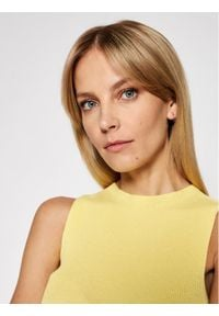 Kontatto Sukienka dzianinowa 3M7227 Żółty Slim Fit. Kolor: żółty. Materiał: dzianina