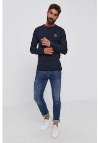 BOSS - Boss - Longsleeve bawełniany Boss Casual. Okazja: na co dzień. Kolor: niebieski. Materiał: bawełna. Długość rękawa: długi rękaw. Wzór: gładki. Styl: casual