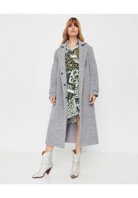 THECADESS - Długi szary płaszcz z wiązaniem. Kolor: szary. Materiał: wełna. Długość: długie. Sezon: zima. Styl: elegancki