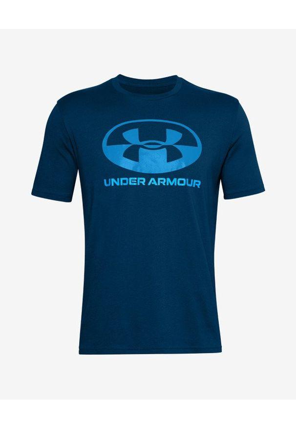 Niebieski t-shirt Under Armour z nadrukiem, z okrągłym kołnierzem