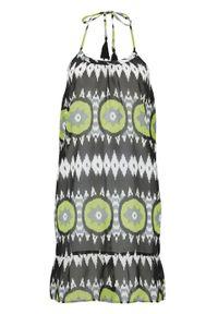 Sukienka plażowa bonprix czarno-zielony w graficzny wzór. Okazja: na plażę. Kolor: czarny