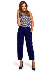 MOE - Wzorzysta Koszulowa Bluzka bez Rękawów - Model 1. Materiał: poliester, elastan. Długość rękawa: bez rękawów