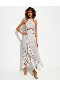 IXIAH - Dwuczęściowa sukienka Massini. Kolor: biały. Materiał: materiał. Wzór: haft, nadruk. Typ sukienki: asymetryczne. Długość: maxi