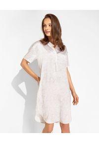 HERZEN'S ANGELENGEHEIT - Jedwabna sukienka mini z motywem zwierzęcym. Typ kołnierza: dekolt w kształcie V. Kolor: szary. Materiał: jedwab. Wzór: motyw zwierzęcy. Typ sukienki: oversize. Długość: mini